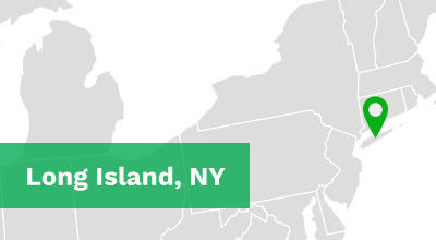 US map of northeast with Long Island, NY labeled